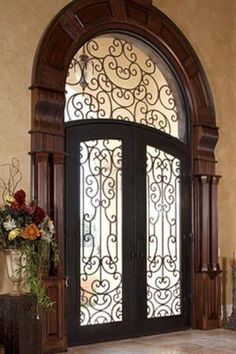 Someday, I will have this front door! Exterior Doors, Interior And Exterior, Interior Design, Door Design, House Design, Porte Cochere, Tuscan Decorating, Unique Doors, Iron Doors