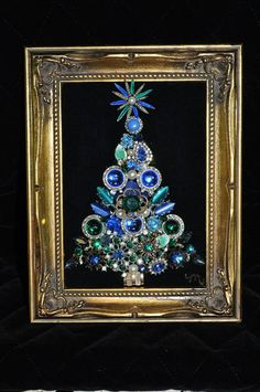 Vintage Jewelry Repurposed Items similar to Framed Vintage Rhinestone and Button Jewelry Christmas Tree in Blue Jeweled Christmas Trees, Christmas Angels, Christmas Art, Xmas Trees, Christmas Ideas, Costume Jewelry Crafts, Vintage Jewelry Crafts, Antique Jewelry, Jewelry Frames