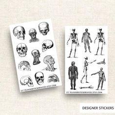 Vintage Anatomy Sticker Set Planner Stickers Journal Stickers Stationary Sticker Body Bones Skull Skeletons Brains Hearts 257 by Planner Stickers, Journal Stickers, Scrapbook Stickers, Travelers Notebook, Filofax, Bujo, Body Bones, Sticker Organization, Student Planner Printable