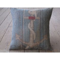 Vintage Anchor Burlap Pillow Nautical Theme Boating Ocean Decor Beach... ($29) ❤ liked on Polyvore featuring home, home decor, throw pillows, decorative pillows, grey, home & living, home décor, gray throw pillows, gray accent pillows and anchor home decor