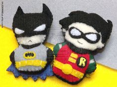 chubby Batman and Robin finger puppets<3