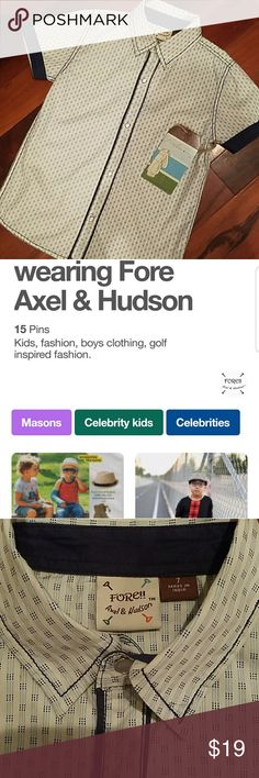 Fore short sleeve boys NWT Fore!! Adel & Hudson celebrity kids brand...feel like a snob without paying the price! So cute vintage style. Pearl snap buttons. Very high quality clothing, but of course. Fore!! Axel & Hudson Shirts & Tops Button Down Shirts