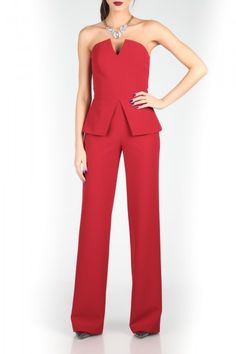 This strapless peplum jumpsuit with V-neckline, wide leg and zip-up closure on the back is perfect for party season. This is surely an elegant fashion piece with a twist!<br />*High-waisted<br />*Wide-leg<br />*Strapless<br />*Peplum<br />*V-neckline<br />*Back zip-up closure<br />*Designed in Romania