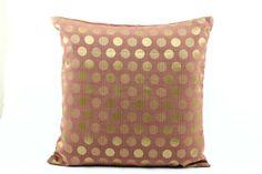 Grape Purple Euro Sham 26x26 Pillow cover, Gold Polka Dots, Silk Pillow, Gold Circles Accent Pillow, Couch sofa pillow