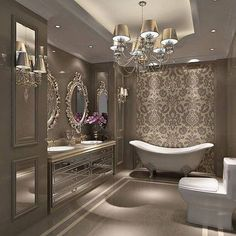 Cool 50 Stunning Luxury Bathroom Design Ideas https://homearchite.com/2017/06/08/50-stunning-luxury-bathroom-design-ideas/