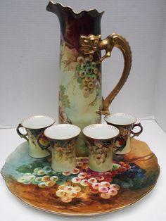 Antique JPL Pouyat~Grapes~Tray~Dragon Handle Tankard Pitcher~4 Mugs~Limoges Set    eBay