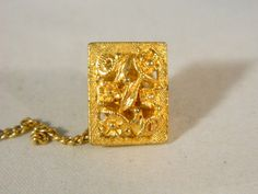 Art Nouveau Floral Gold Tie Tack / Vintage Goldtone Tie Clip / Mens Accessories by VintageBaublesnBits on Etsy