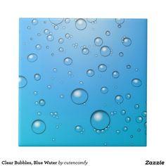 Burbujas claras, agua azul azulejo cuadrado pequeño