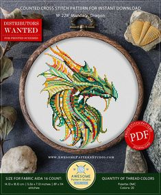 This is modern cross-stitch pattern of Mandala Dragon for instant download.  You will get 7-pages PDF file, which includes: - main picture for your reference; - colorful scheme for cross-stitch; - list of DMC thread colors (instruction and key section); - list of calculated