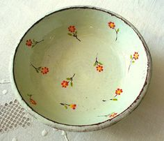 crumpledenvelope:  A pale blue flowery bowl by KelimPottery on Etsy