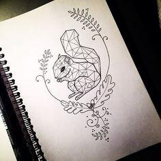 Cute geometric squirrel in curly oak branch frame tattoo design - Tattooimages.biz