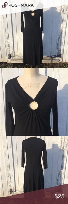 "Boston Proper Black Dress Sz 4 Boston Proper black Stretchy dress Sz 4. Has ring cutout in the center of chest. Length 45"". In excellent condition. Boston Proper Dresses Midi"