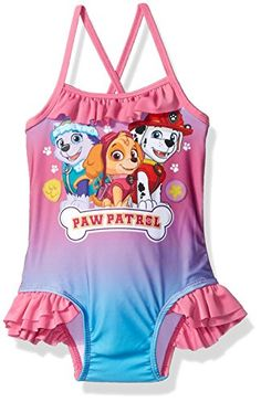 Paw Patrol Little Girls' Toddler One Piece Swim Suit Set with Group Shot, Pink, Great gift idea. Excellent value. Designed in the USA by c-life. Toddler Girl Bathing Suit, Swimming Clothes, Girls Swimming, Swimsuits For Teens, Swimwear Cover Ups, Indoor Swimming Pools, Paw Patrol, Leotards, Michael Kors Watch
