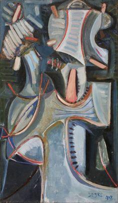 livier Debré - Signe, musicien, 1948, oil on canvas