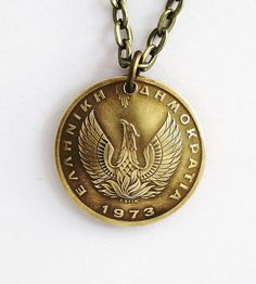 Phoenix Coin Necklace Greek Owl Coin Phoenix Pendant by Hendywood