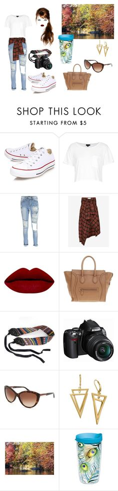 """""""Casual 2"""" by ohlala423 ❤ liked on Polyvore featuring Converse, Topshop, Boohoo, Faith Connexion, Chanel, CÉLINE, Nikon, Calvin Klein, ColoredPrints and Tervis"""