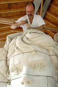 Philippe Faraut Sculpting a Stone Portrait