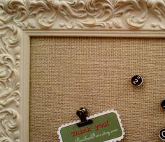 Shabby Chic Burlap Bulletin Board or Magnet Board  by PinwheelFair