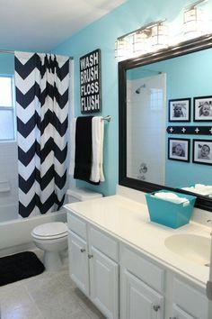 Black white blue bathroom