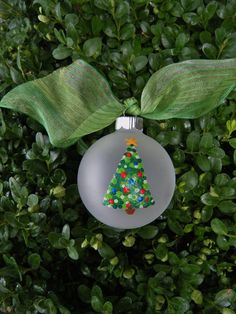 Christmas Tree Ornament - Personalized - Modern Green Polka Dot Ornament - Handpainted Glass Ball