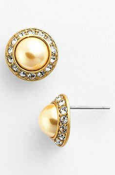 These Tory Burch faux pearl and sparkly crystal studs are fit for a princess.