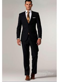 Black suit, brown shoes and brown tie! I LOVE this! Formal/casual ...