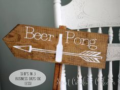 BEER PONG Lawn Games Wedding Sign Wooden by SweetNCCollective, $25.00