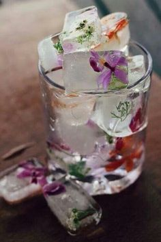Ice cubes filled with edible flowers- perfect for mother's day