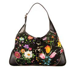 69aef9e17e87 GUCCI Black Canvas Floral Flora Jackie O Bouvier Hobo #fashion #clothing  #shoes #