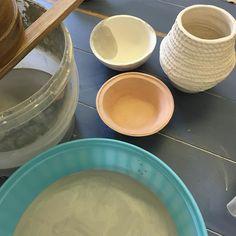 Glazing some of my ceramics this morning #glazing #ceramics #pottery #clay #ceramicart #learnsomethingnew #potteryclass #ceramicsclass #handmade #handmadepots