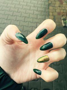 Nailsart Long Green and Gold