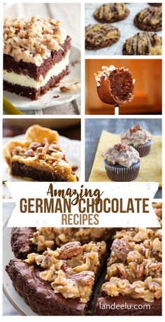 Amazing German Chocolate recipes to try! I love anything german chocolate! I've rounded up some of top German Chocolate recipes to inspire you. Delicious Cookie Recipes, Dessert Recipes, Yummy Food, Dessert Ideas, Cupcakes, Cupcake Cakes, Pumpkin Crunch, Peppermint Cheesecake, German Chocolate