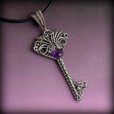 Skeleton Key Necklace Amethyst, Sterling Silver Key Necklace, Wire Key Pendant, Victorian Key Necklace, Elven Key Necklace, Mythological