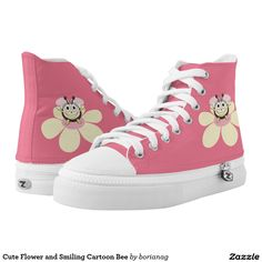 Cute Flower and Smiling Cartoon Bee Printed Shoes