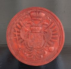 Large, very decorative red wax seal replica of the original Imperial wax seal from Emperor Karl VI. The wax seals is a replica from an Holy Roman Empire, Imperial Russia, Family Crest, Crests, Wax Seals, Gold Coins, Coat Of Arms, Totally Awesome, Awesome Stuff