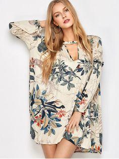 Plant Print Choker Long Sleeve Tunic Dress - MULTICOLOR S