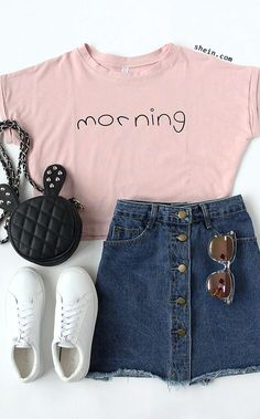 Back to school! How to wear for my new school days! Shein take new fashion in 2016 fall/winter for you! Pink Letters Print Cuffed Crop Top +denim short+flat sneaker. Simple look and fashion with a bomber coat. Check more at shein! Nail Design, Nail Art, Nail Salon, Irvine, Newport Beach