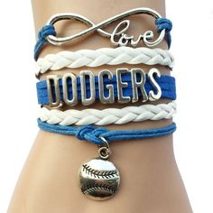 Drop Shipping Infinity love Major League Baseball Los Angeles Dodgers Bracelet- Custom MLB Sports Team Bracelet