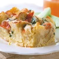 Bagel, Lox and Egg Strata - Tucker's favorite! Making it for his birthday this weekend.
