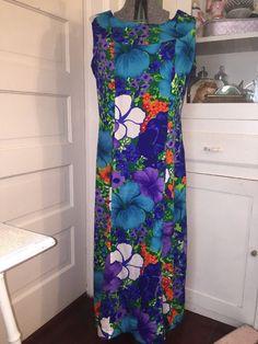 Vintage Pomare Hawaii Hawaiian Sleeveless Barkcloth Maxi Dress Flowers | eBay