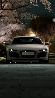 Audi R8, White, Landscape, Car