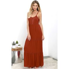 Beck and Call Rust Red Maxi Dress ($64) ❤ liked on Polyvore featuring dresses, red, white empire waist dress, red maxi dress, rayon maxi skirt, long red maxi skirt and floor length maxi skirt