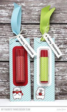 Handmade favors from Julie Dinn featuringLip Balm Window & Frame Die-namics, Tall Tag Die-namics #mftstamps