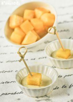 Dados de manzana al curry con salsa de roquefort   L'Exquisit