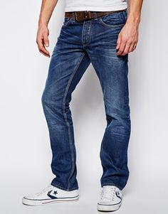 Jack & Jones Straight Fit Jeans In Mid Wash