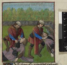 Death of Malebouche=Guillaume de Lorris and Jean de Meun TitleRoman de la Rose OriginNetherlands, S. (Bruges) Datec. 1490-c. 1500 LanguageFrench