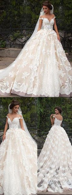 Romantic Jewel Cap Sleeves Ball Gown Wedding Dress with Lace Top OKB09 #lace #wedding #ballgown #princess #romantic #bridal #okdresses