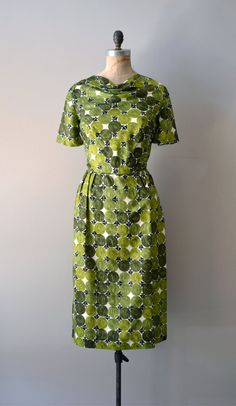 vintage 1960s Painted Landscape silk dress