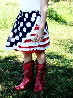 4th of July Ruffle Skirt  This whole project started with the boots. I saw them on sale at Gymboree in their 4th of July collection. They we...