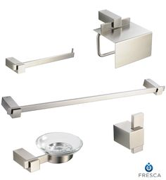 Fresca Ellite 5-Piece Bathroom Accessory Set Brushed Nickel  Shop Fresca Products In Decors R Us!!!!  144 East Route 4 Paramus, NJ 07652 Call For pricing 201-250-8900